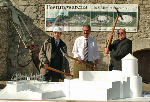 ground breaking for the convertible roof Festungsarena Kufstein