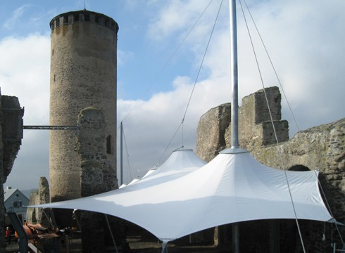 tent roofing in the courtyard