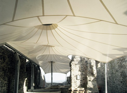 interior room with textile roof