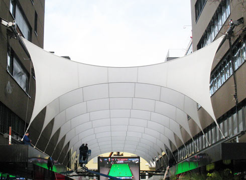 spanned convertible membrane covering pedestrian area